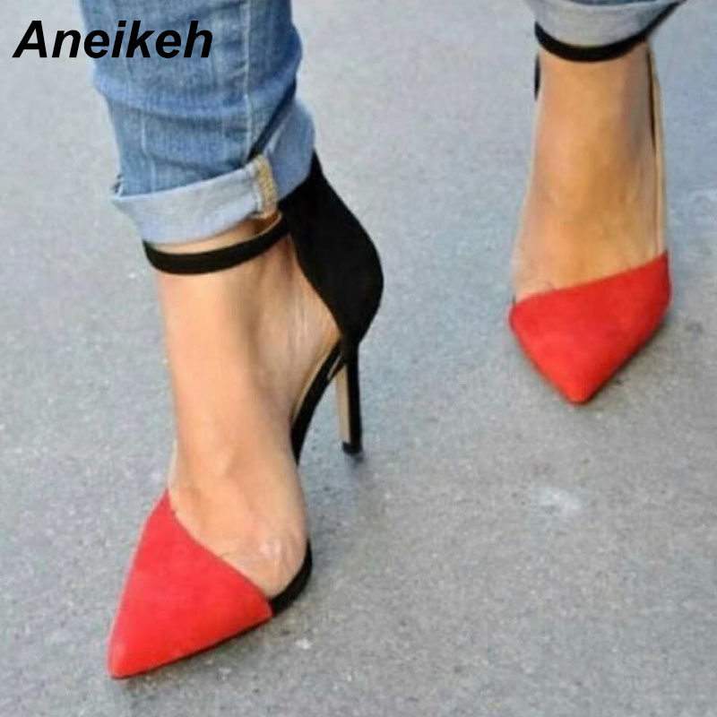 Aneikeh 2019 Fashion Women's Shoes Faux Suede Contrast Color Pointed Toe Pumps High Heels Stiletto Heels Patchwork Wedding Shoes