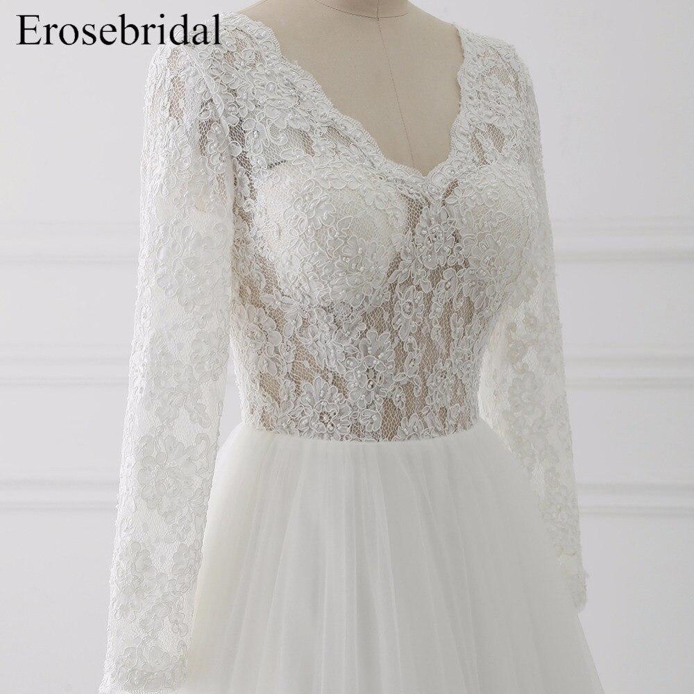 2018 Long Sleeve Wedding Dresses A Line Bridal Gowns Erosebridal Plus Size Wedding Dress Lace Illusion Bodice Vestido De Noiva in Wedding Dresses from Weddings Events