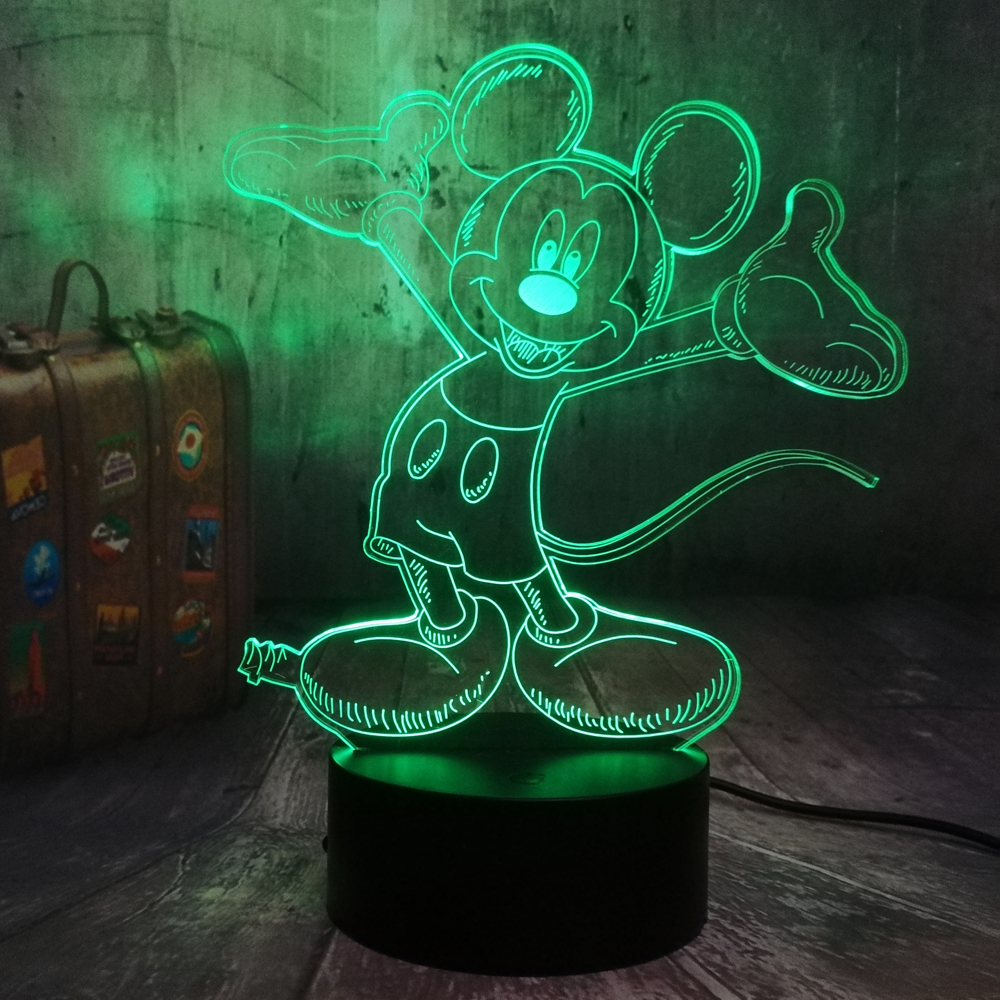 Childlike 3D LED Happy Mickey Mouse Night Light RGB 7 Colors Kid Table Lamp Remote Child Kids Birthday Christmas Gift Home Decor