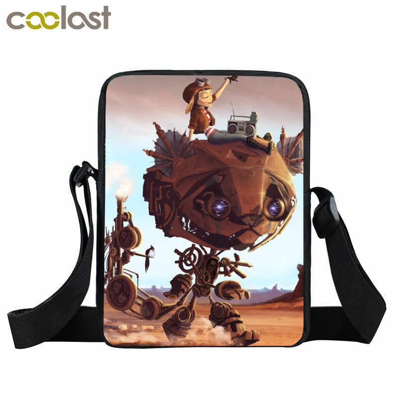 Стильная стимпанк сумка-мессенджер, маленькие сумки через плечо для мужчин, Детская сумка через плечо, сумка в стиле панк, Женская сумочка, робот, кошка, собака, женский клатч