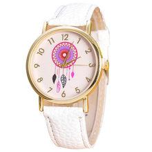 53ac6263349 Montre Mulheres Vogue Dream Catcher Padrão Relógios Homens Pu Leather Analógico  Quartz Relógio de Pulso Relogio feminino 9 Cores.