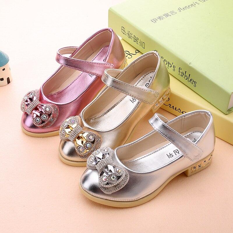 821877bd52ab4 2017 Printemps nouveau filles haute talons chaussures simples enfants  s  casual chaussures princesse fille arc chaussures de danse