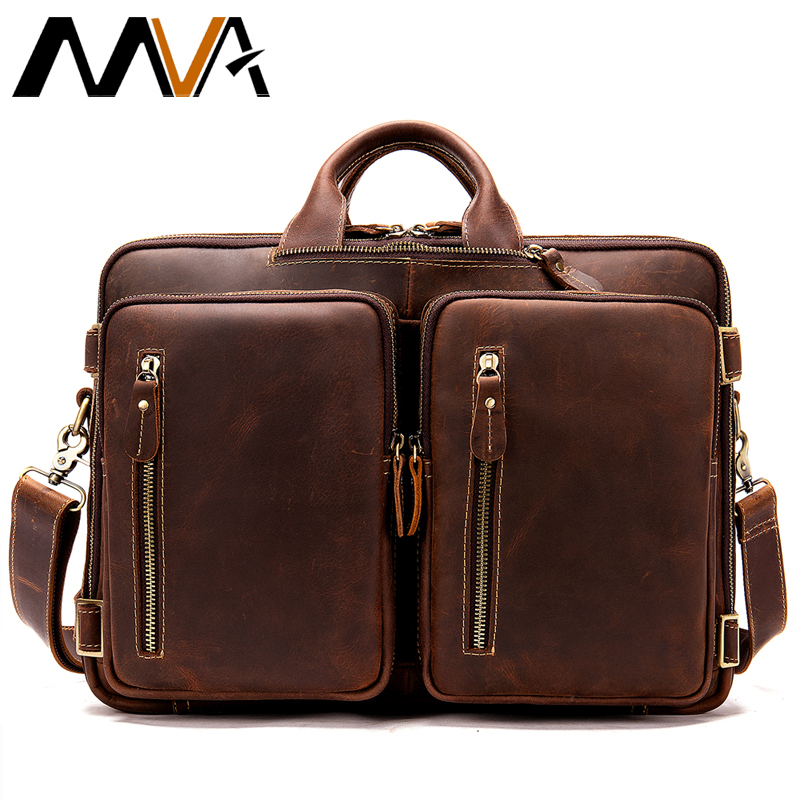 MVA Casual Men's Briefcase Vintage Genuine Leather Bag Men Large Capacity For Computer Laptop Bags For Men Shoulder Handbag 433