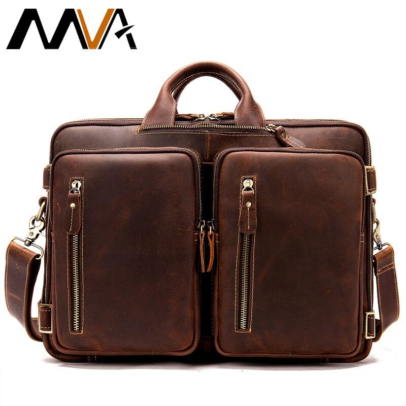 MVA décontracté hommes porte-documents Vintage en cuir véritable sac hommes grande capacité pour ordinateur sacs pour ordinateur portable pour hommes épaule sac à main 432