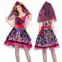High quality new halloween dress carnival costumes cute princess dress horror ghost bride dress cosplay cosplay red flower lolit