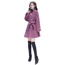 цена 2019 Women Woolen Coat Fashion Solid Color Parka Slim Jacket Korean Version Jackets Female Woolen Coat Plus Size Thick Outerwear