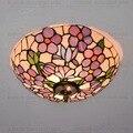 37 см кантри цветы Тиффани потолочный светильник Витражная Лампа для спальни E27 110-240 В