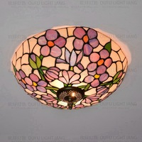 37cm Flesh Country Flowers Tiffany ceiling light Stained Glass Lamp for Bedroom E27 110 240V