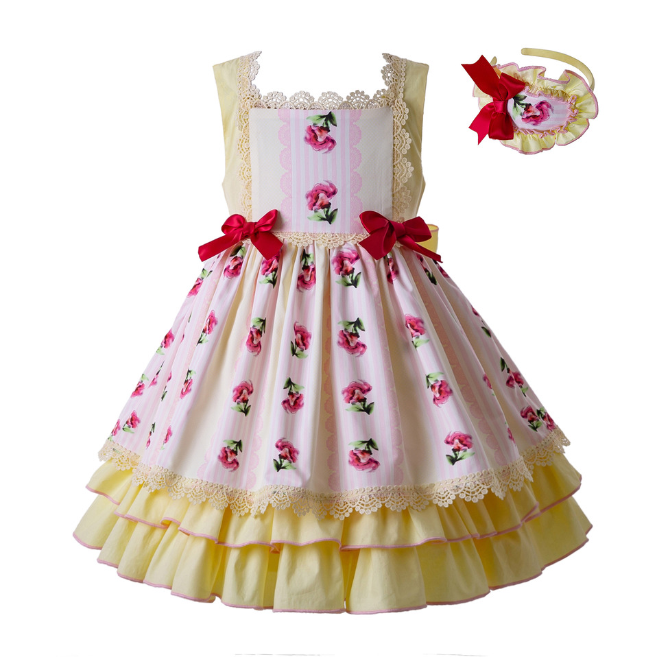 Pettigirl 2019 Newest Easter Yellow Party Dress For Girl Flower Pattern Long Dress With Bows Kids