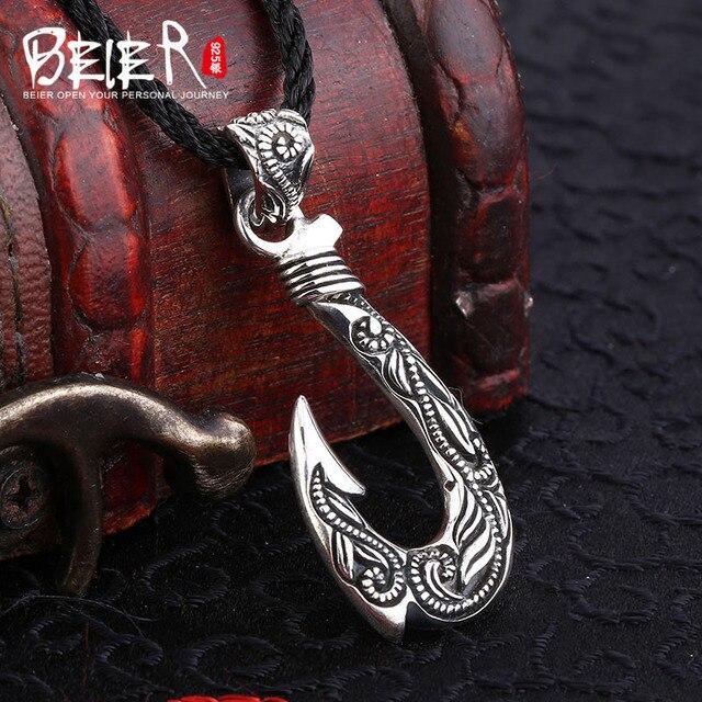 Beier cửa hàng mới 100% 925 thái bạc sterling silver hook pendant necklace punk fashion jewelry A1799