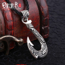 Beier cửa hàng mới 100% 925 thái bạc sterling silver hook pendant necklace punk fashion jewelry A1799(China)