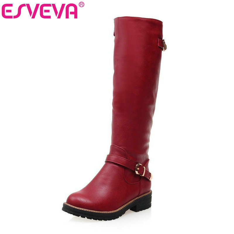 ESVEVA 2016 Buckle Motorcycle Shoes Fashion Women Boots Warm Short Plush Med Calf Boots Round Toe Woman Winter Shoes Size 34-43 women round toe ankle boots woman warm fur winter snow boots new fashion buckle style footwear low heel shoes size 34 43