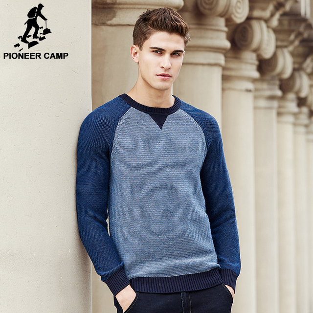 Pioneer Camp patchwork Sweater men New arrival Fashion brand clothing top quality male Knitted Sweater And Pullovers 677128