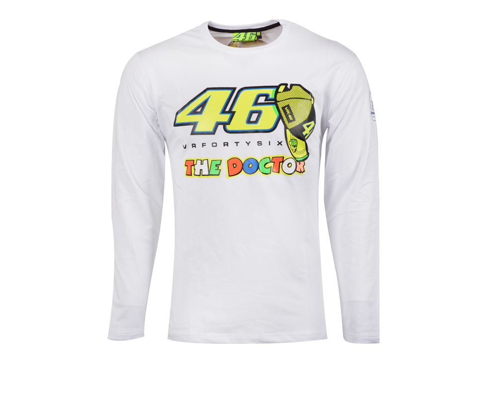 634c75dd 2017 Valentino Rossi VR46 Moto GP Monza Cotton T-shirt 46 The Doctor White  Long Sleeve T-shirt free shipping worldwide