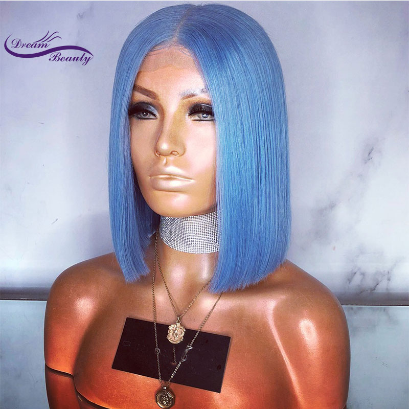 13x6 long deep part Lace Front Human Hair Wigs Blue Short Human Hair Wigs with Baby