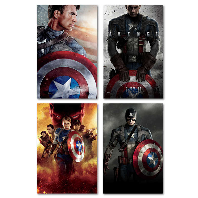 Captain America Poster War Movie Posters Prints Comics Films Heroes Silk Wall Art Super Hero Pictures No Frame