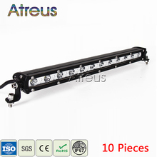 Atreus 10Pcs 15Inch 36W Car Single Row LED Light Bar 12V 24V DRL For ATV 4X4