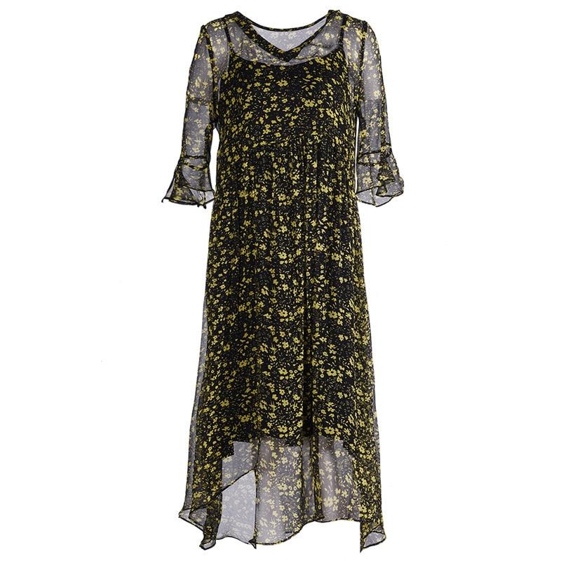 Fleur Femmes 2019 En Pour Longues Robes Été Slim Floral Fit De Chart Mousseline Soie Décontracté Grande Printemps See Bohème Noir Plage Taille Robe atwwUqx5A