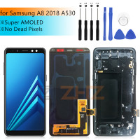 Super AMOLED For Samsung A8 lcd 2018 A530f touch screen digitizer Assembly A530DS A530N for samsung a530f display with frame