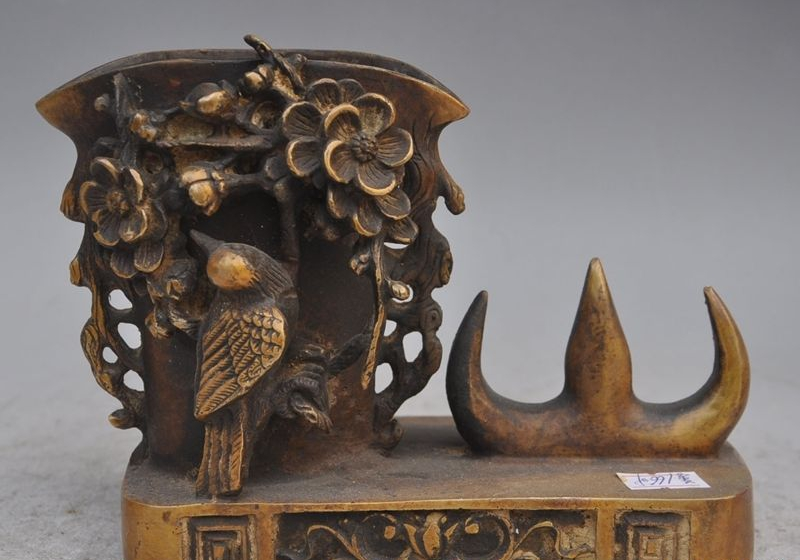 "7""chinese Palace bronze animal bird flower brush pot pencil vase Pen tray statue"