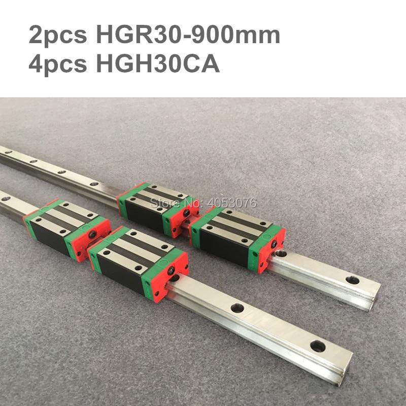 2 pcs linear guide HGR30 900mm Linear rail  and 4 pcs HGH30CA linear bearing blocks for CNC parts2 pcs linear guide HGR30 900mm Linear rail  and 4 pcs HGH30CA linear bearing blocks for CNC parts