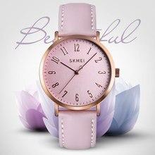SKMEI Womens Watches Fashion Ladies For Women Leather Clock Dress Waterproof Quartz Wristwatch Luxury Relogio Feminino