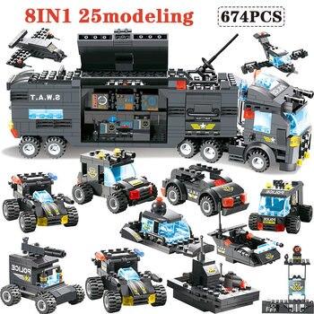 647 pces 762 blocos de construção módulo legoingly cidade móvel polícia swat cidade polícia estação caminhão tijolos brinquedo para crianças meninos