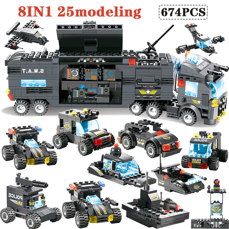 647PCS 762PCS Building Blocks Module legoingly City Mobile Police SWAT City Police Truck Station Bricks Toy For Children boys