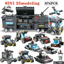 647PCS 762PCS Building Blocks Module legoingly City Mobile Police SWAT Truck Station Bricks Toy For Children boys