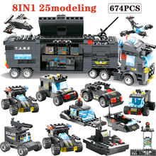 647PCS 762PCS Building Blocks Module legoingly City Mobile Police SWAT City Police Truck Station Bricks Toy For Children boys(China)