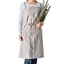 Aprons Simple Washed Cotton Korean Style Uniform Unisex Adult Aprons For Woman Men's Male Lady's Kitchen Cooking Pinafores(China)
