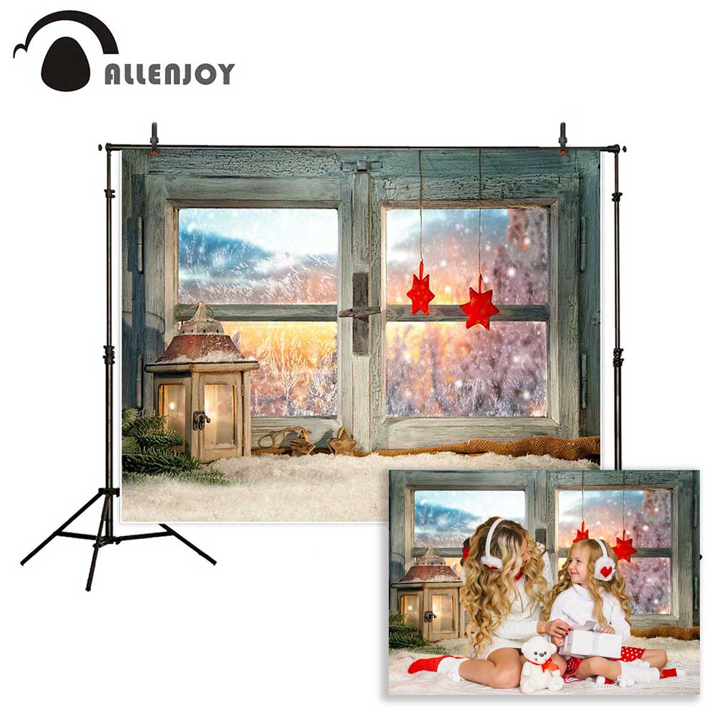 Allenjoy photography background atmospheric christmas window sill decoration beautiful sunset backdrop Photo background studio christmas backdrop photography allenjoy snow cap winter snowflakes background photographic studio vinyl children s camera photo