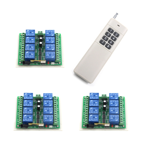 New Arrival Long Distance DC24V 8CH RF Wireless Remote Control Transmitter with Big Button +3pcs Receiver 315/ 433.92MHZ New Arrival Long Distance DC24V 8CH RF Wireless Remote Control Transmitter with Big Button +3pcs Receiver 315/ 433.92MHZ