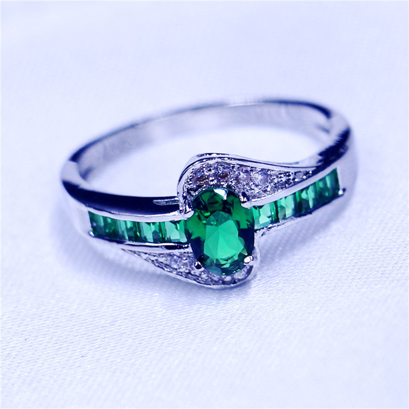 Trendy Green Birthstone Jewelry Wedding band rings for women AAA Zircon Cz 925 Sterling silver Female Party Ring Birthday Gift