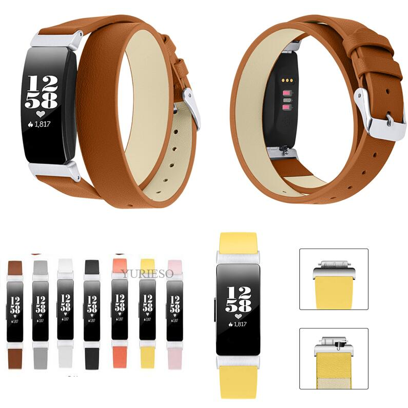 Double Wrap Genuine Leather Bands for Fitbit Inspire HR Wristband Bracelet Strap for Fitbit Inspire Fitness