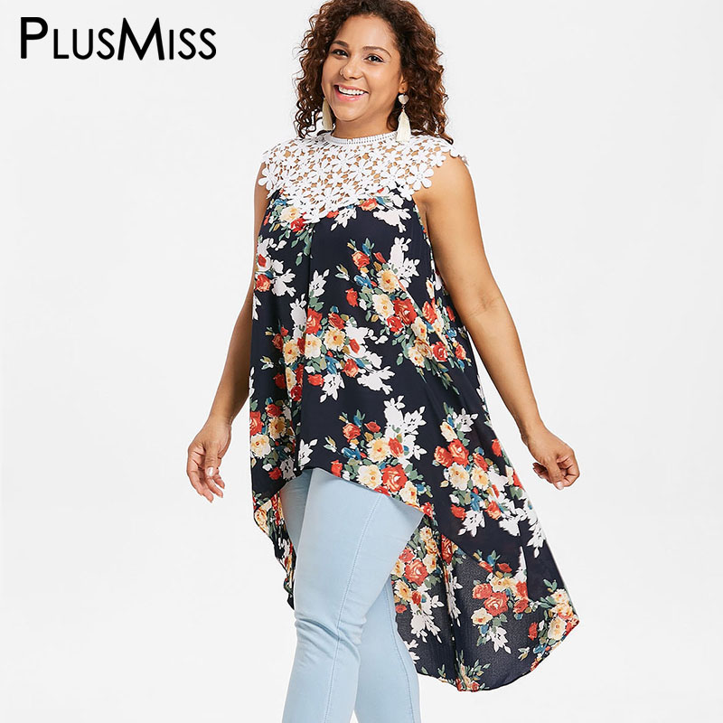 PlusMiss Plus Size 5XL 4XL Boho Floral Flower Print Lace Crochet   Blouse     Shirt   Women Big Size Sleeveless Long Loose Tops Ladies