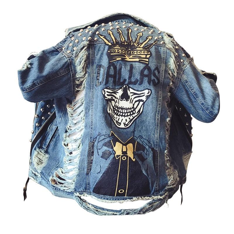 Handmade Beading Pearl Jacket Rips Detail Boyfriend Denim Jacket Hip Hop Harajuku Denim  ...