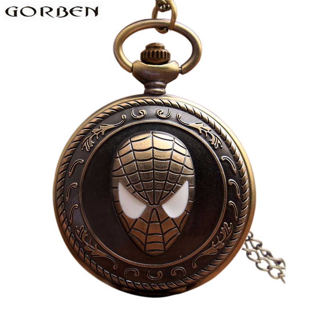 Vintage Spiderman Antique Pocket Watch With Chain Retro Bronze Flip Quartz Necklace Fob Clock Pendant For Men Women Gift