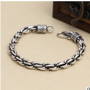 Vintage Personality Thai Silver Bracelet Bacelet Man Jewelry Men 925 Sterling Chain For Men 7mm 925 sterling silver men bracelet dragon scale bracelet men s coarse heavy thai silver chain punk fashion personality bracelet