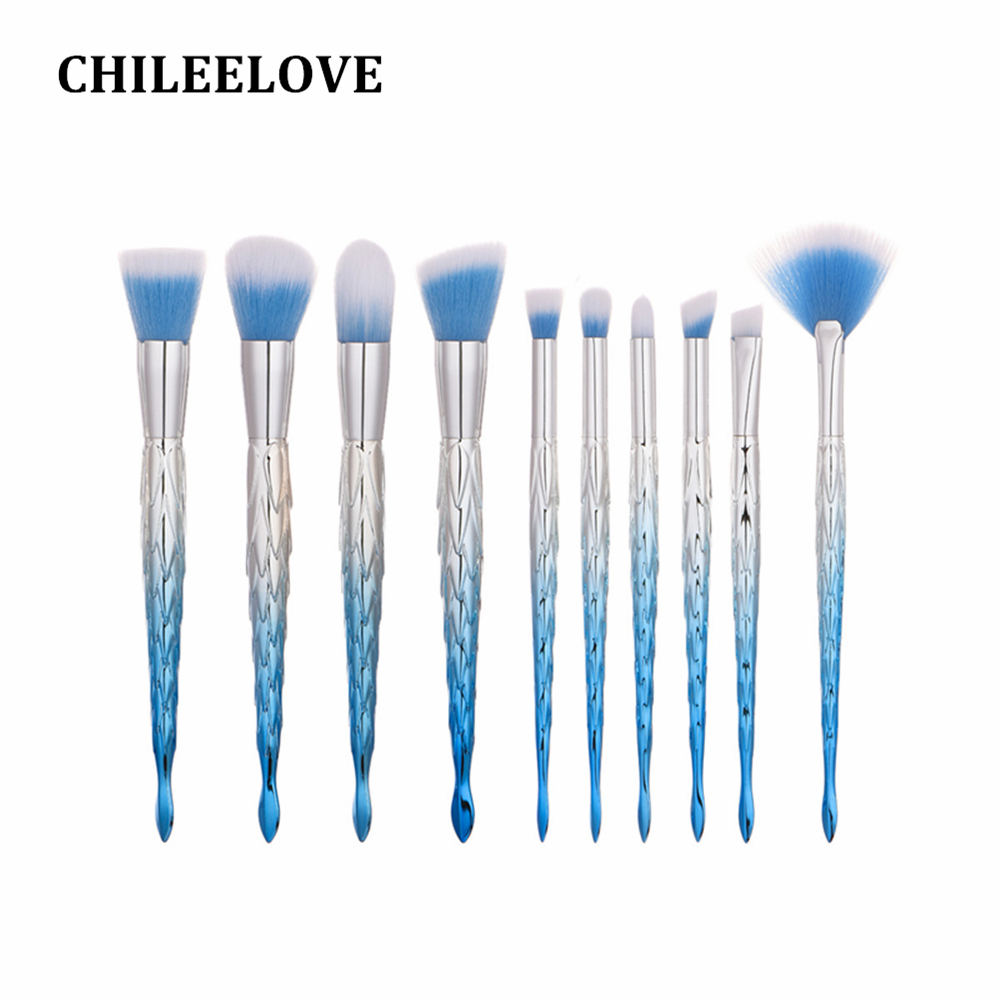 CHILEELOVE 10 Pcs Base Cosmetics Makeover Makeup Brushes Kit Barbed Triangular Corn Shape For Women Girl Foundation Blush Brush manuscript makeover