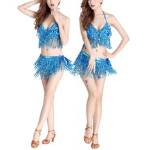 Women Professional Indian Dancer Egypt Costume Suit Belly Dance Bra or Hip Scarf Sequined Performance
