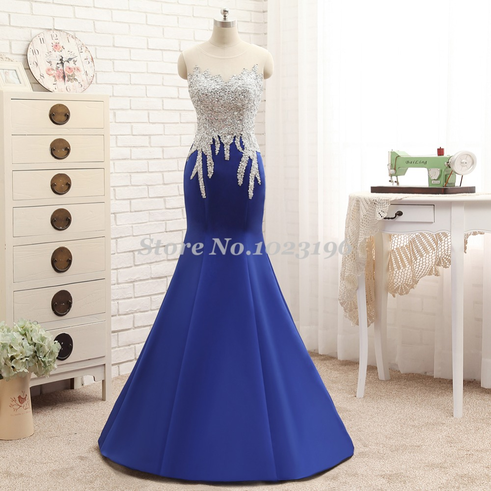 Popular Royal Blue and Silver Dress with Sleeves-Buy Cheap ...