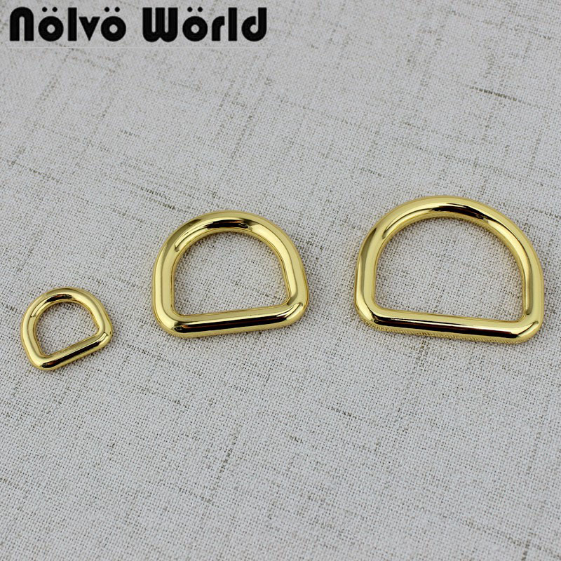 50pcs 12.5mm  24mm  32mm Deep  Gold Color Closed D Rings Alloy Metal D-ring  For DIY Handbags Bags Strap