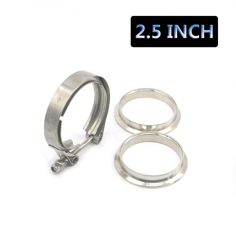 Prix pour Universal Amélioré 2.5 pouce Auto Pièces V-collier de serrage kit pour Turbo, tuyaux d'échappement Turbo Tuyau de Descente D'échappement Pince V bande