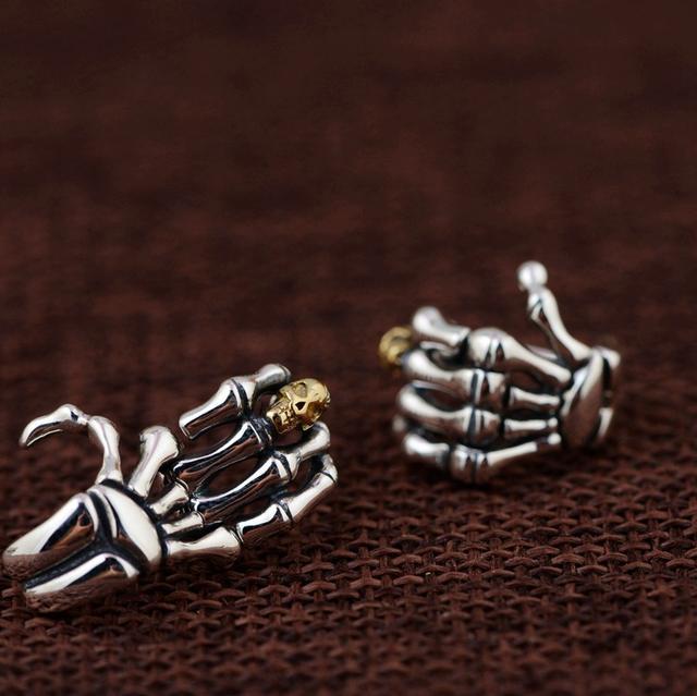 ORIGINAL 925 STERLING SILVER SKULL HAND EARRINGS