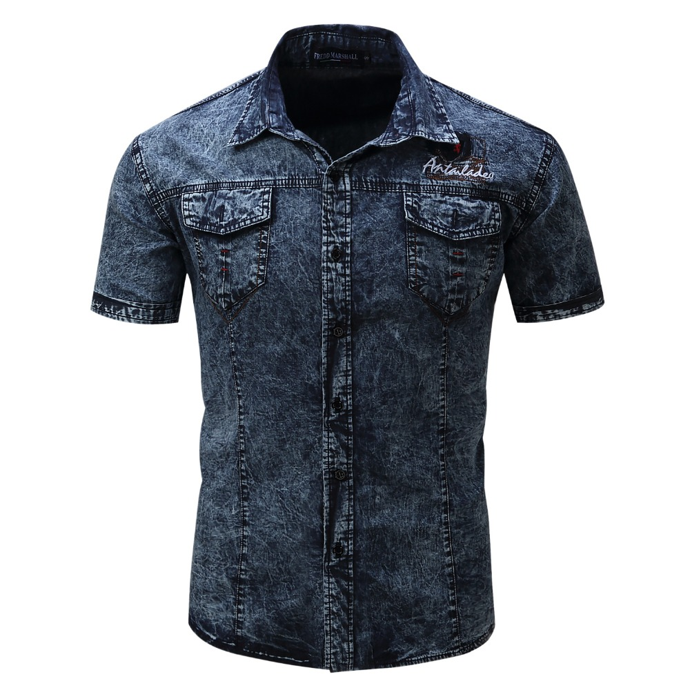 Brand new shirt men short sleeve denim shirt mens casual for Dress shirt no pocket