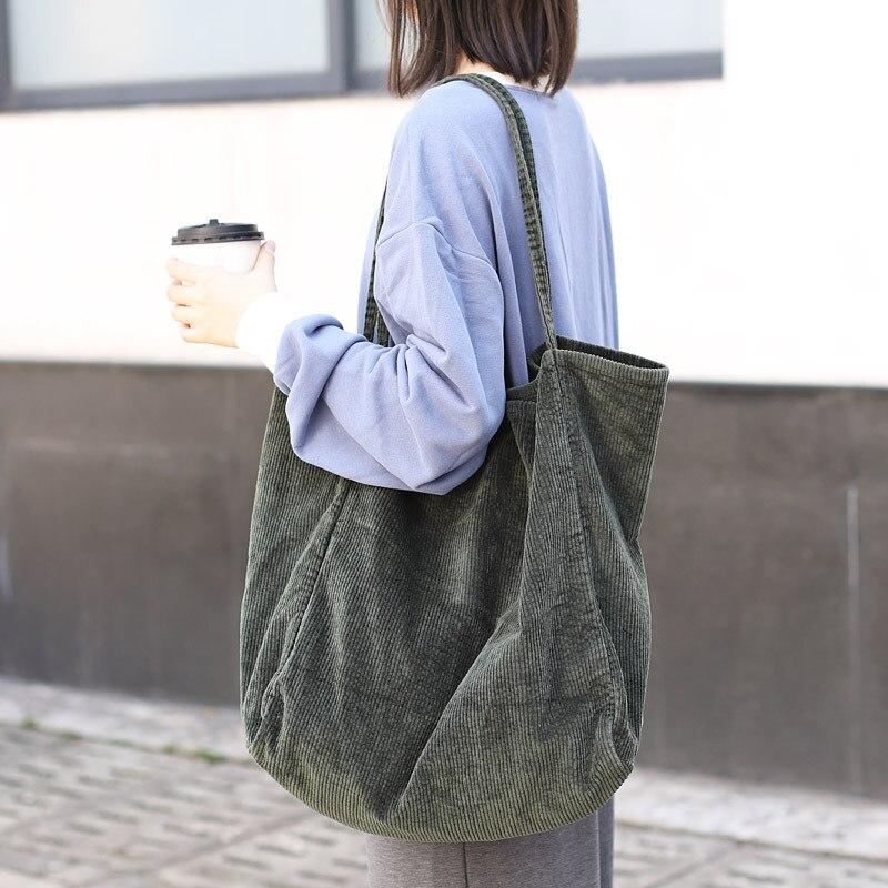 Große Größe Einkaufstasche Modische Cord Leinwand Tote Einfache Retro Künstlerische One-schulter Frauen Tasche Mädchen Hand Tasche