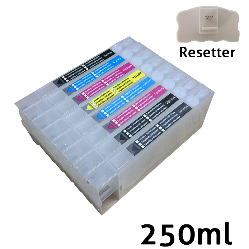 8 colors Cheap T5651-T5659 inkjet refillable cartridges for Epson 4800 with chips and chip resetter on high quality 11color refillable ink cartridge empty 4910 inkjet cartridges for epson 4910 large format printer with arc chips on high quality