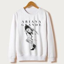 Harajuku Для женщин толстовка осень 2017 г. белый Повседневное костюмы модные толстовки с капюшоном Ariana Grande принт Пуловеры для женщин пуловер с капюшоном