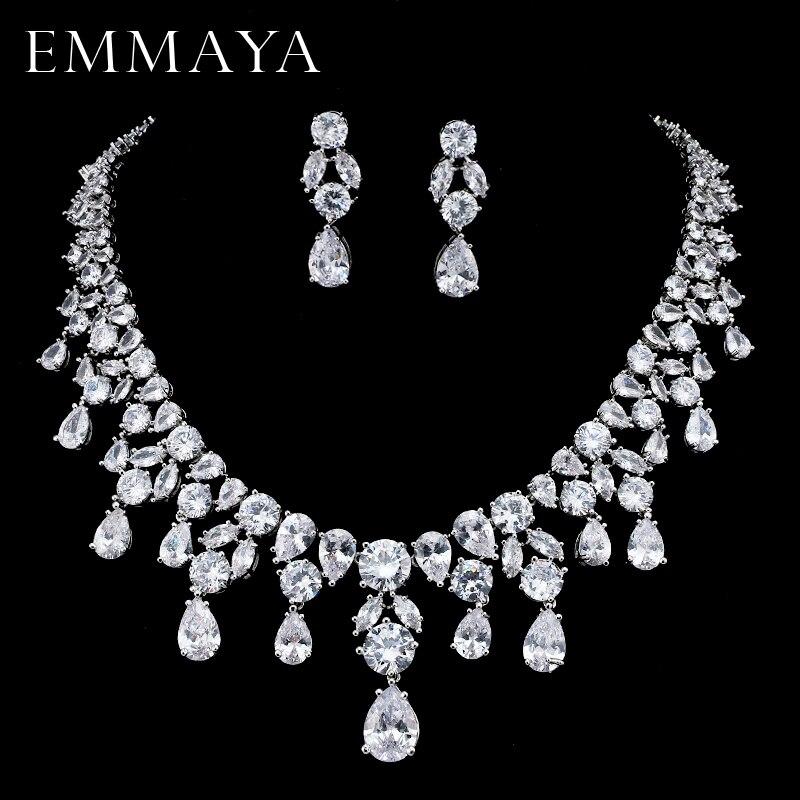 EMMAYA Brand New Jewelry Set For Woman Long Necklace Pendant Crystal Earrings Wedding Beads Fashion Jewelry